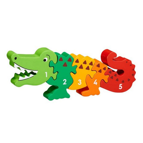 Wooden Number Jigsaw Puzzle: Crocodile 1-5