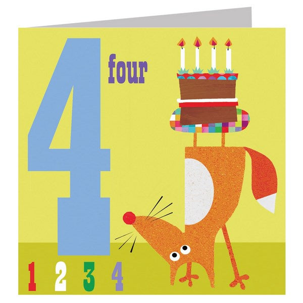 Birthday Card - Age 4: Fox