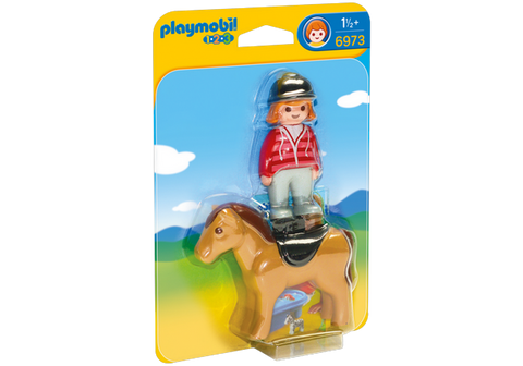 Playmobil 1.2.3. Equestrian with Horse - 6973