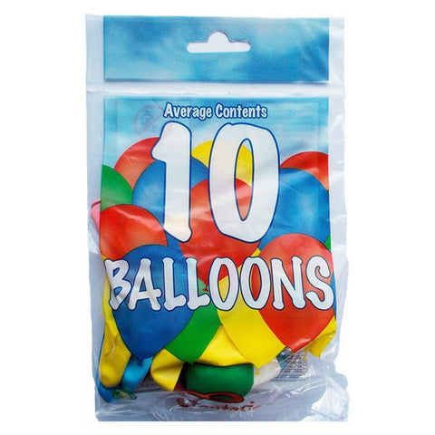 "Bag of 10 coloured balloons ( 8"")"