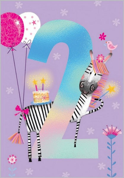 Birthday Card - Age 2:  Flowery Zebra