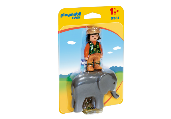 Playmobil 1.2.3. Zookeeper with Elephant - 9381