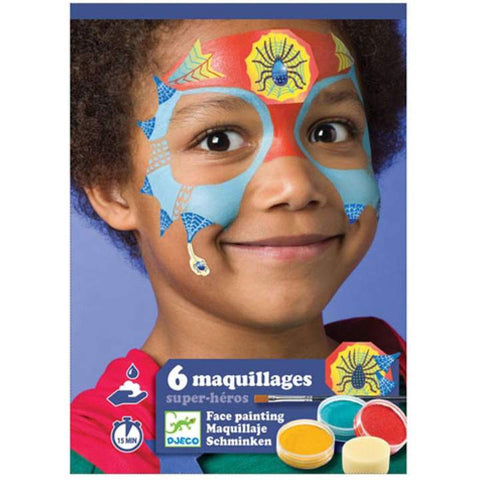 Djeco Six Maquillages Face Painting Kit - Superheroes. DJ09200