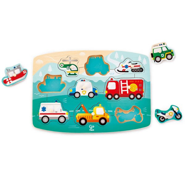 Wooden Peg Puzzle - Emergency Vehicles