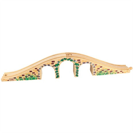 Big Jigs Wooden Train Set Accessories – 3 Arch Bridge