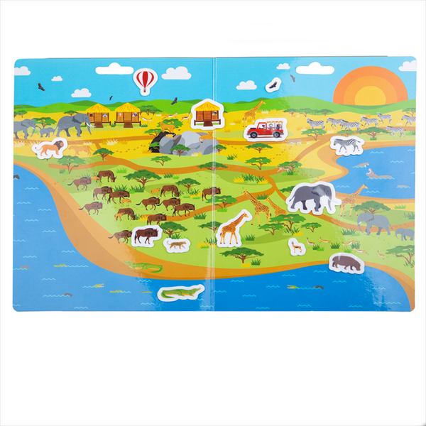 Scenic Safari reusable sticker scene