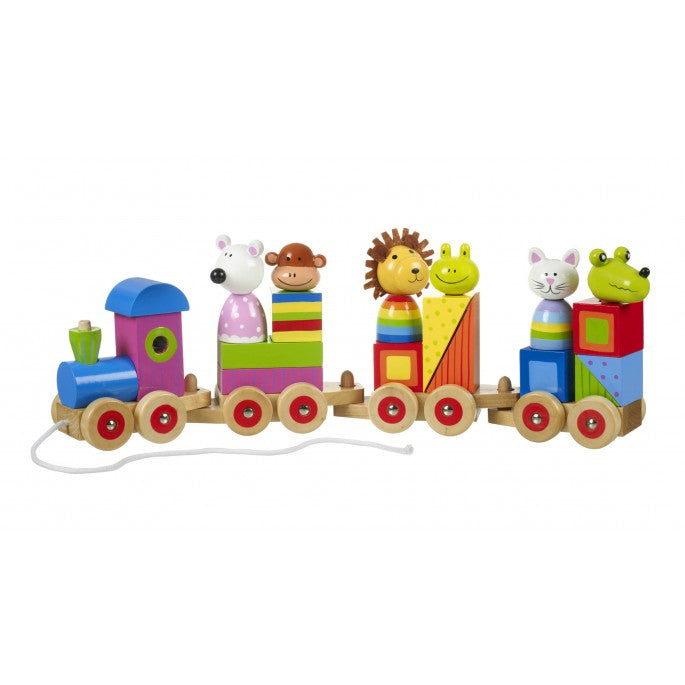 Wooden Animal Pull Along Puzzle Train