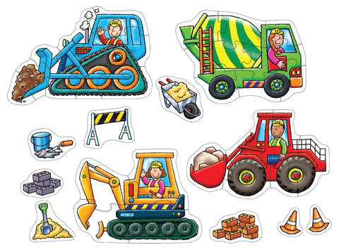 Big Wheels - 4 Jigsaw Puzzles with Play Pieces