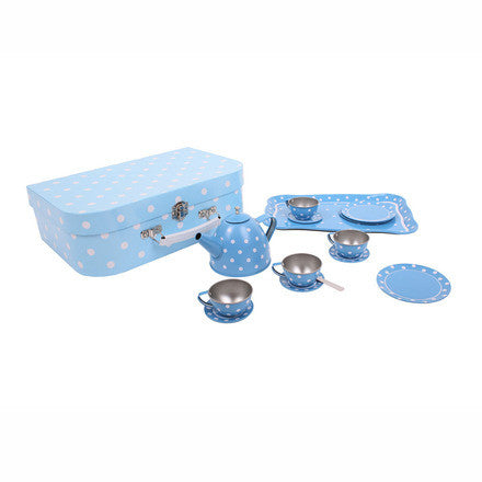 Blue Polka Dot Tea Set