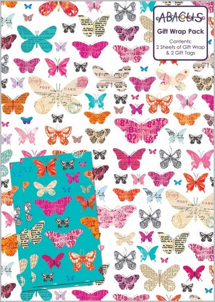Butterfly Collage Gift Wrap Pack