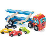 Wooden Toy Car Transporter with race cars by Le Toy Van