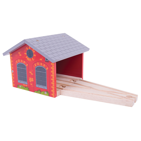 Big Jigs Wooden Train Set Accessories - Double Engine Shed