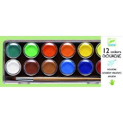 Djeco 12 Gouache Water Colour Paints.  DJ08803