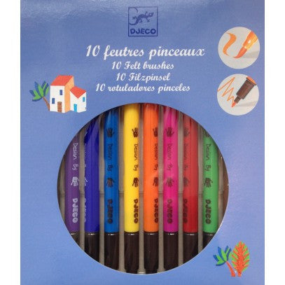 Djeco 10 Felt Colouring Brushes - Classic.  DJ08800