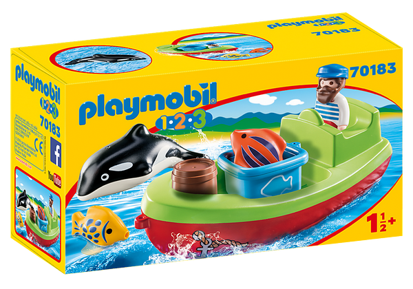 Playmobil 1.2.3 Fisherman with Boat - 70183