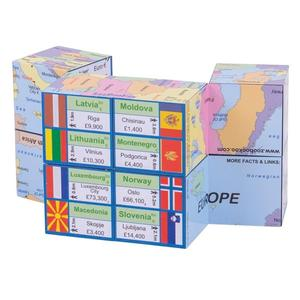 Zoobookoo Cube Book - Europe - Map, Flags & Facts