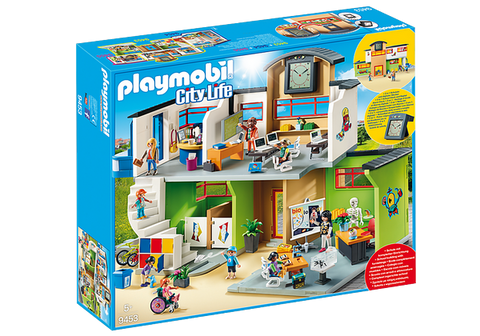 Playmobil City Life Furnished School Building with Digital Clock - 9453
