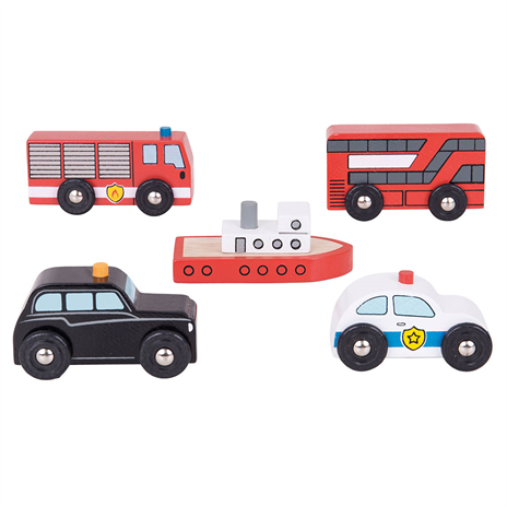 Wooden City Vehicles play set