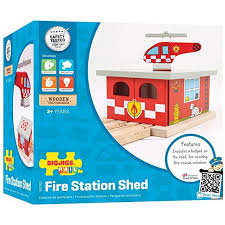 Big Jigs Wooden Train Set Accessories - Fire Station Shed