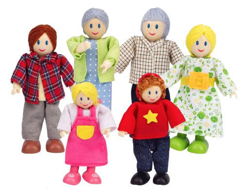 Happy Family - wooden doll family - white dolls