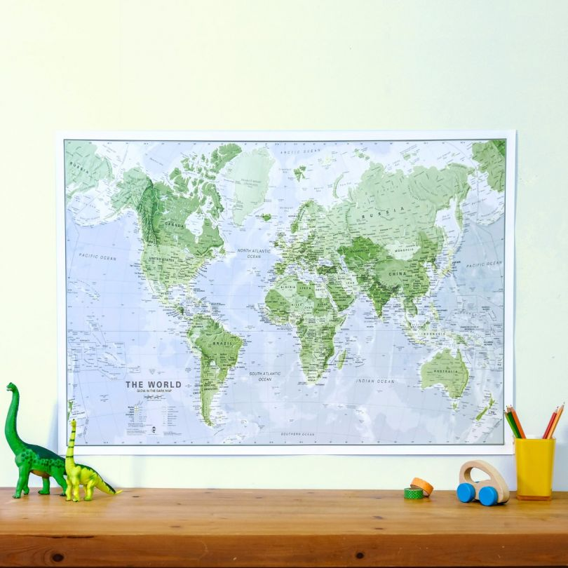 Maps International - Glow in the Dark World Map