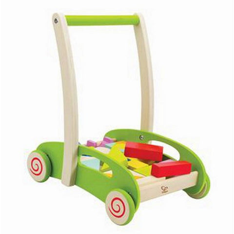 Block and Roll - wooden toddler's walker wagon with blocks by Hape