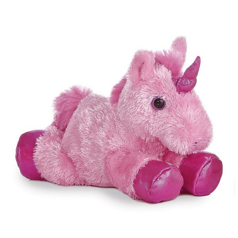 Pink Unicorn Mini Flopsie soft toy 8""