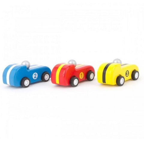 Wooden Pullback Racer Cars - Set of 3
