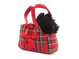 Scottie Dog in a Tartan Bag Plush Toy