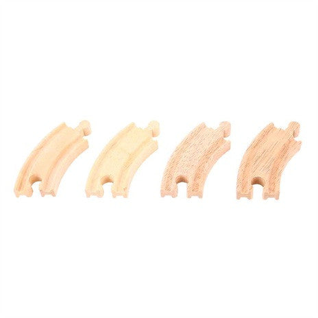 Big Jigs Wooden Train Set Accessories – 4 x Short Curved Track