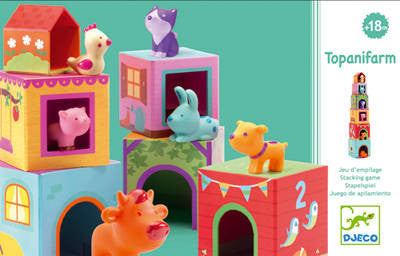Djeco Topanifarm - Stacking Cubes and Farm Animals Set.  DJ09108