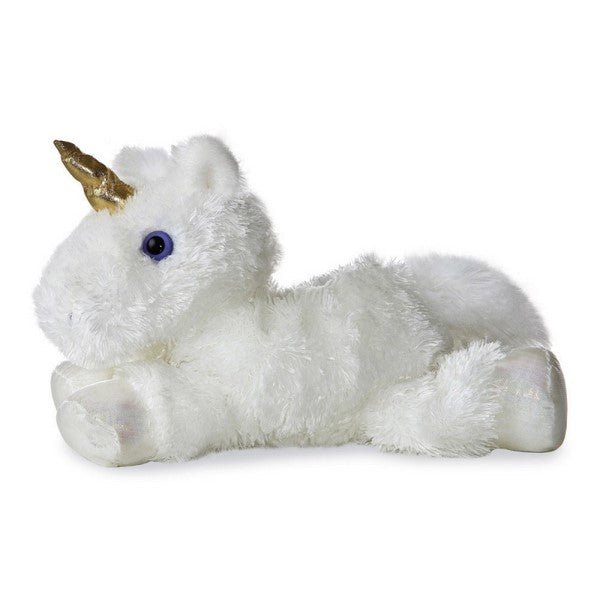 White Unicorn Mini Flopsy soft toy 8""