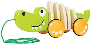 Walk Along Crocodile - wooden pull along toy