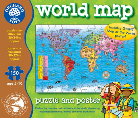 World Map Puzzle and Poster - 150 Piece Jigsaw by Orchard Toys