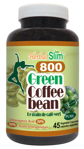 Herbal Slim Green Coffee Bean 800 (50% Chlorogenic Acid) 45 vegetable capsules