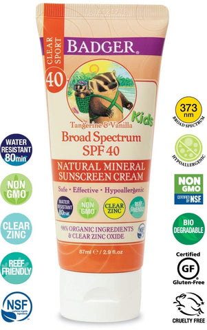 Badger SPF 40 Kids Sport Clear Zinc Sunscreen Tangerine & Vanilla 87 ml.