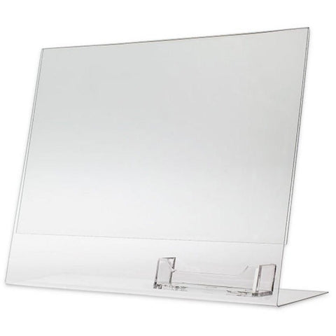 "Acrylic 11"" x 8-1/2"" Slanted Sign Holder with Business Card Holder"