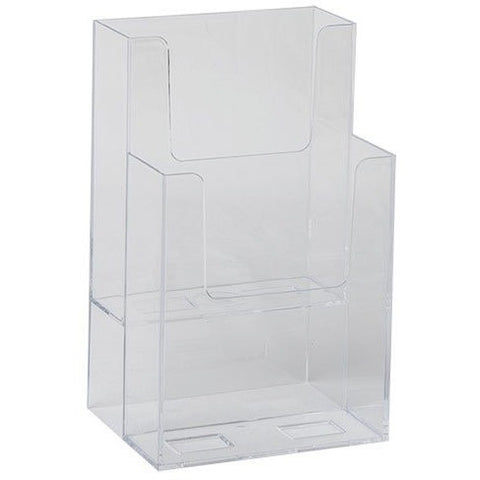 "Clear Acrylic 2-Tier 4"" x 9"" Tri-Fold Brochure Holder"