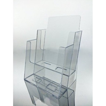 "Clear Acrylic 2-Tier 6"" x 9"" Bi-Fold Brochure Holder"