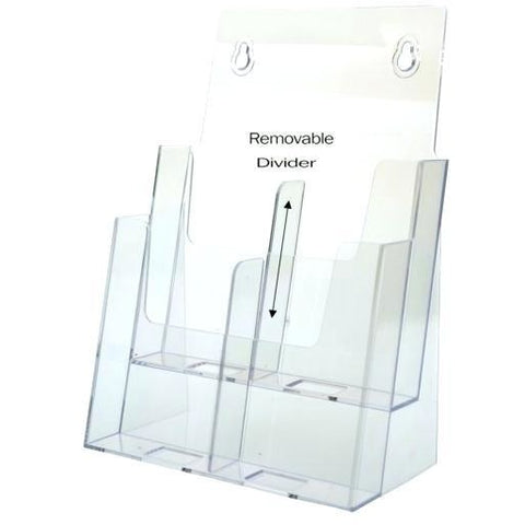 "Clear 2-Tier Brochure Holder for 8.5"" x 11"" Brochures"