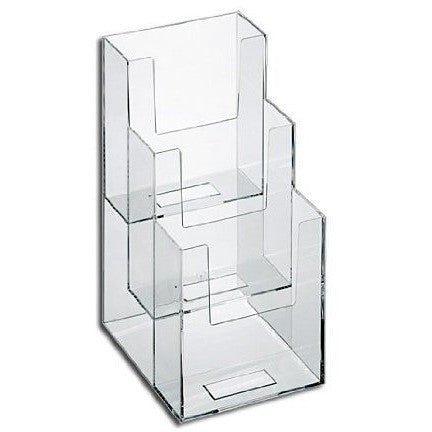 "Clear Acrylic 3-Tier 4"" x 9"" Tri-Fold Brochure Holder"