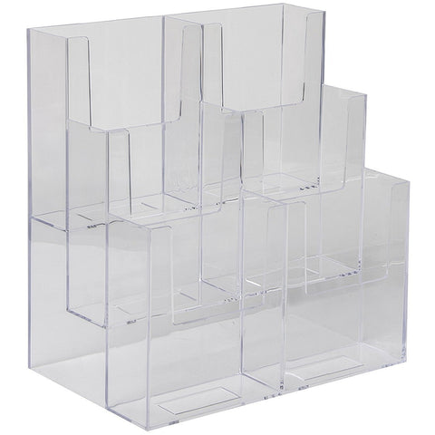"Clear Acrylic 3-Tier, 6-Pocket 4"" x 9"" Tri-Fold Brochure Holder"