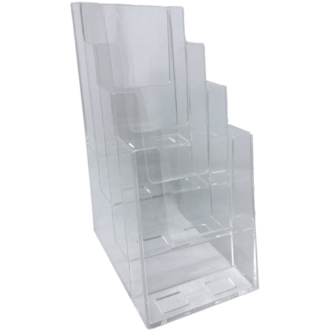 "Clear Acrylic 4-Tier 4"" x 9"" Tri-Fold Brochure Holder"