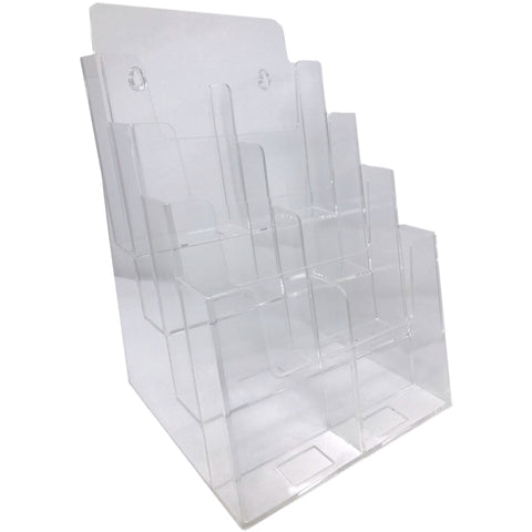 "Clear Acrylic 4-Tier 8.5"" x 11"" Tri-Fold Brochure Holder"