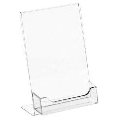 "Acrylic 4"" x 6"" Slanted Sign Holder with Business Card Holder"