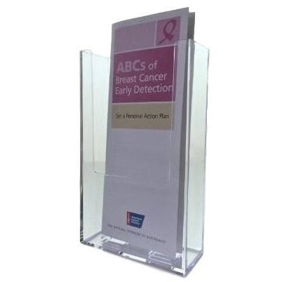 "Clear Wall Mount Brochure Holder for 4"" x 9"" Brochures"