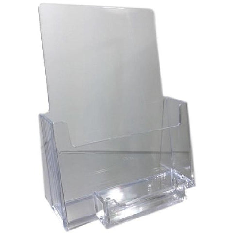 "Clear Acrylic 5.5"" x 8.5"" Bi-Fold Countertop Brochure Holder with Business Card Holder"
