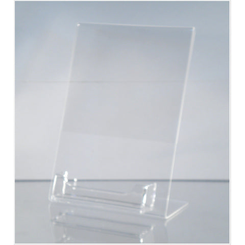 "Acrylic 5"" x 7"" Slanted Sign Holder with Business Card Holder"