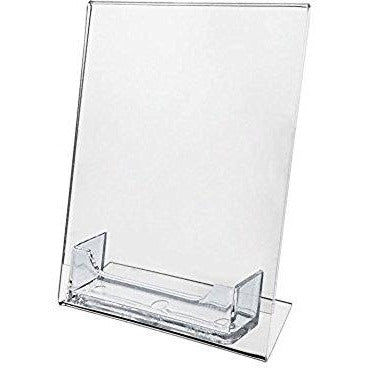 "5"" x 7"" Slanted Sign Holder with Business Card Holder"