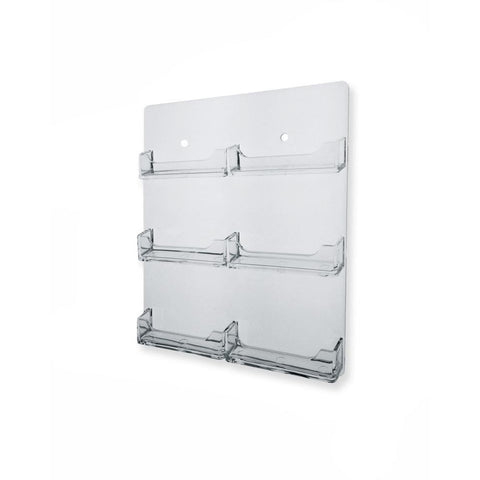 Clear 6-Pocket Acrylic Wall-Mount Business Card Holder